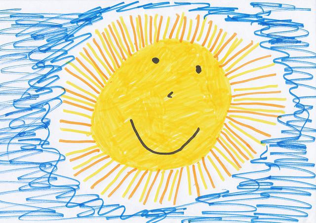 Eine handgemalte Sonne